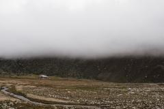 Gros brouillard au dessus du refuge pour le dernier jour